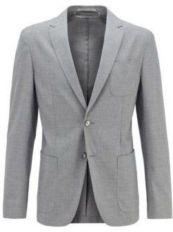 HUGO BOSS Slim-fit jacket in stretch fabric with patch pockets