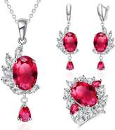 Jiangyue Luxury Ladies Jewelry Sets Cubic Zirconia Rhodium Plated Oval Necklace Earring Ring Sets Size 8 Color