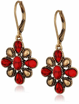 Chaps Women's Gold Coral Flower Drop Earrings