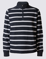Blue Harbour Cotton Rich Striped Rugby Top