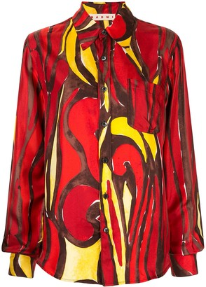 Marni Printed Long-Sleeved Buttoned Shirt