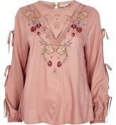 River Island Womens Pink embroidered tie sleeve smock top