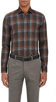 Etro Men's Tartan-Print Button-Front Shirt-GREY