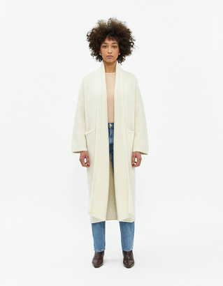 LAUREN MANOOGIAN Women's Long Shawl Cardigan Sweater in White | Wool