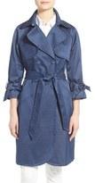 Eliza J Denim Sateen Trench Coat