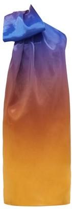 Halpern One-shoulder Degrade Organza Dress - Womens - Blue Multi