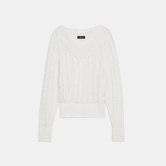 Theory Textured V-Neck Sweater in Linen-Viscose