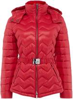 Armani Exchange Belted Padded Puffer Coat in Royal Red