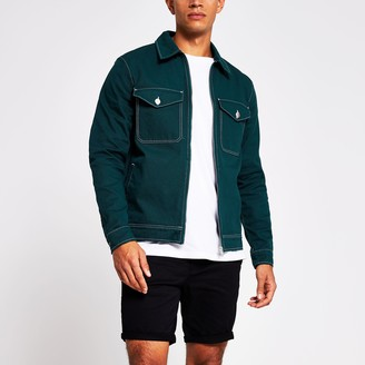 River Island Mens Dark Green zip denim jacket