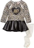 Juicy Couture Animal Print Pleather Bottom Dress & Tight Set (Baby Girls)