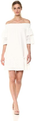 J.o.a. Women's Smocked Off The Shoulder Ruffle LACE Mini Dress