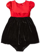 Ralph Lauren Cap-Sleeve Satin & Velour Party Dress w/ Bloomers, Red, Size 9-24 Months