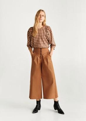 MANGO Flared cotton pants brown - S - Women