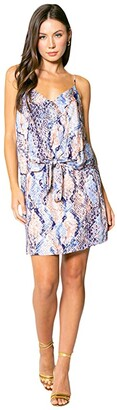 Lavender Brown Blue Snake Adjustable Strappy Tie Front Mini Dress (Blue/Taupe) Women's Clothing