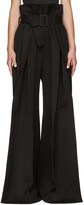 Yang Li Black Wide-Leg Torn Trousers