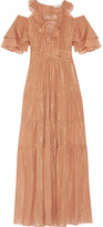 Rachel Zoe Cecily Tiered Metallic Cotton And Silk-blend Maxi Dress - Tan