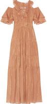 Rachel Zoe Cecily Tiered Metallic Cotton And Silk-blend Maxi Dress - Tan