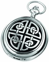 Celtic Woodford Quartz Pocket Watch, 1909/Q, Men's Chrome-Finished Knotwork Pattern with Chain (Suitable for Engraving)
