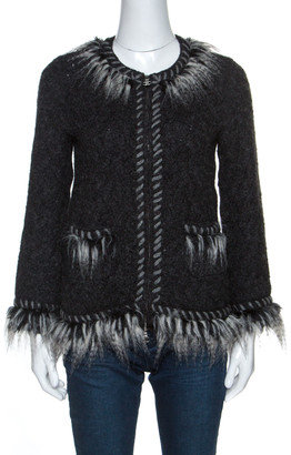 Chanel Grey Perforated Wool Faux Fur Trimmed Zip Front Jacket M
