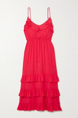 Melissa Odabash Bethan Tiered Ruffled Crepe De Chine Midi Dress - small