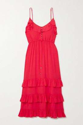 Melissa Odabash Bethan Tiered Ruffled Crepe De Chine Midi Dress - x small