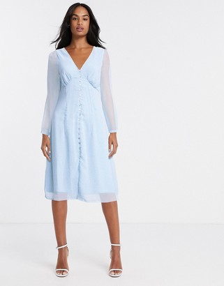 Vero Moda tea dress with button detail in blue ditsy floral