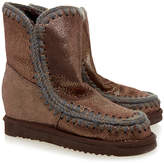 Mou Eskimo Brown Metallic Wedge Shearling Boot