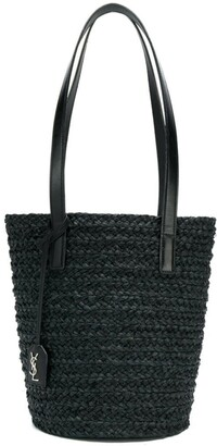 Saint Laurent small Panier raffia tote bag