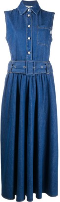 MSGM Belted Flared Denim Dress