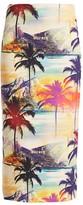 Le Superbe Palm Print Reversible Midi Skirt