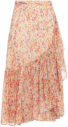 By Ti Mo Ruffled Floral-print Georgette Midi Skirt