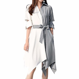 Shenye Women's Patchwork Shirt Dresses Knee Length Color Block Half Sleeve V Neck Asymmetric Midi Dresses with Belt White
