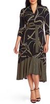 Chaus Chain Print High/Low Midi Dress