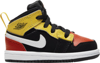 Jordan AJ 1 Mid SE Basketball Shoes - Black / Team Orange Amarillo