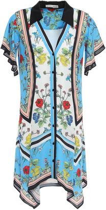 Alice + Olivia Asymmetric Floral-print Crepe De Chine Mini Shirt Dress