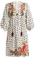 Velvet by Graham & Spencer Emilie embroidered floral-print linen dress