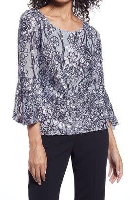 Alex Evenings Embellished Bell Sleeve Blouse