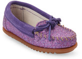 Minnetonka Kids Girls) Purple Glitter Moccasins