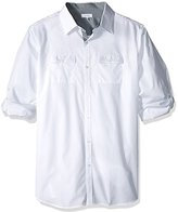 Calvin Klein Men's Big and Tall Solid Poplin Roll Tab Long Sleeve Button Down Shirt