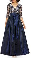 Jessica Howard Petite V-Neck 3/4 Sleeve Metallic Lace Taffeta with Sash Ballgown