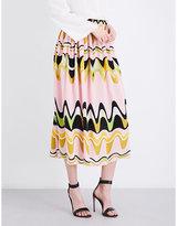 Emilio Pucci Archive triangle-printed high-rise silk skirt