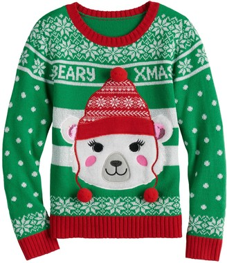 It's Our Time Girls 7-16 Christmas Polar Bear Sweater