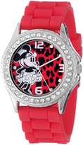 Disney Women's MN1055 Rhinestone Accent Minnie Mouse Red Rubber Strap Watch