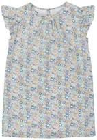 Marie Chantal Girls Liberty Floral Flutter Sleeve dress - Mint/Lavender
