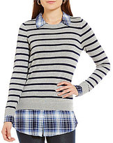 Intro Stripe and Plaid Print WIth Collar and Shirttail Hem Sweater Top