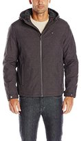 Tommy Hilfiger Men's Filled Soft Shell Hooded Open Bottom Jacket with Full Sherpa Lining