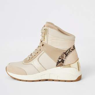 River Island Beige high top lace-up wedge trainers