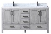 "Michaella 60"" Double Bathroom Vanity Base Only Wrought Studio Base Finish: Distressed Gray"