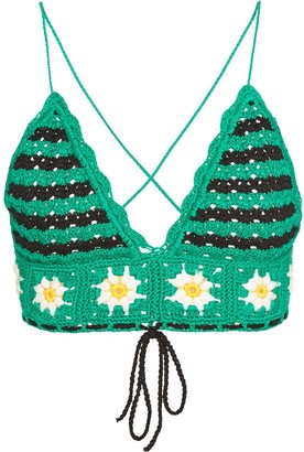 Miu Miu Floral Motif Crochet Top