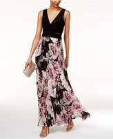 Xscape Evenings Printed Pleated Chiffon Gown
